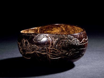 清椰壳雕山水人物图钵式洗