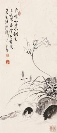 溥儒(1896-1963)花塘双鸭