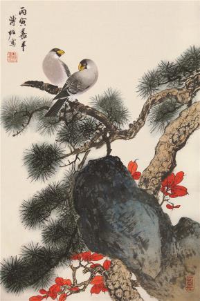 溥佐(1918-2001)松枫双栖
