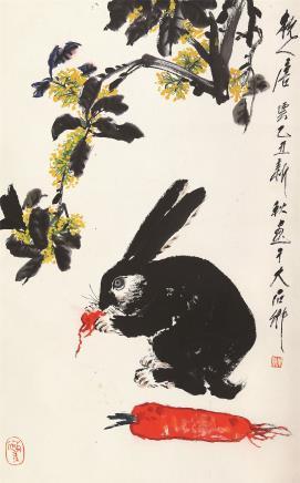 唐云(1910-1993)玉兔桂树