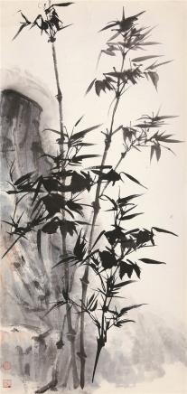 唐云(1910-1993)竹石图