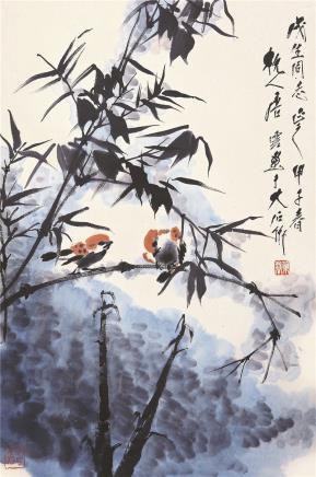 唐云(1910-1993)竹影双栖