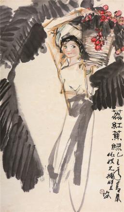 林墉(b.1942)荔红蕉绿
