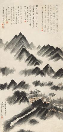 潘恭寿(1741-1794)  鹤林烟雨图