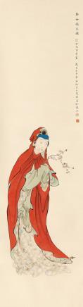 陆小曼(1903-1965)  折梅闻香图