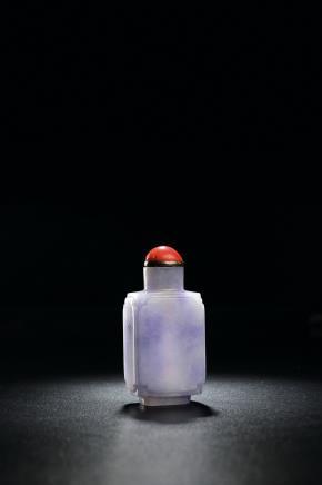 清中期 紫罗兰翡翠倭角开光折方式鼻烟壶