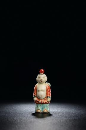 清中期 五彩刘海戏金蟾鼻烟壶
