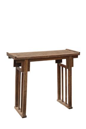 明末清初 黄花梨嵌瘿木多柱腿带托泥翘头香桌