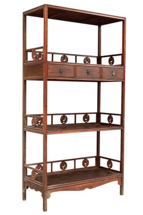 清早期 黄花梨木螭龙纹卡子花纹书柜