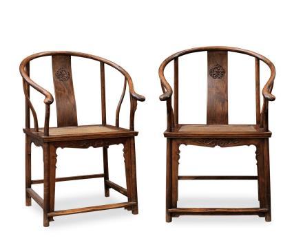 清 黄花梨木螭龙纹圈椅一对