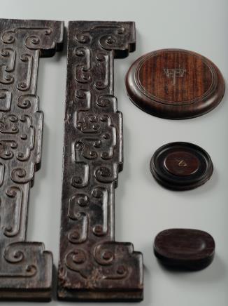 清中期  紫檀配件、硬木器座五件
