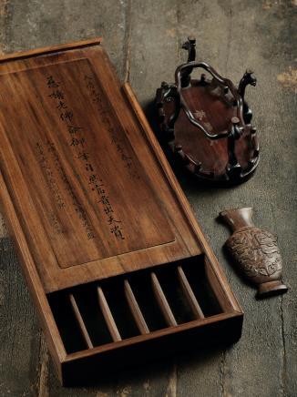 清  宫廷扇匣、器座、黄花梨嵌片三件