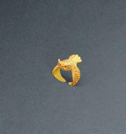 黄金猫头鹰造型戒指