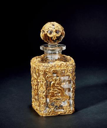 19世纪法国铜鎏金水晶玻璃酒瓶
