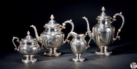 20世纪美国白宫御用品牌GORHUM纯银浮雕茶具 4只