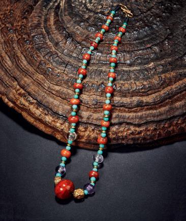 战国红镐珠及战国水晶珠  战国红玛瑙珠及清代绿松石珠