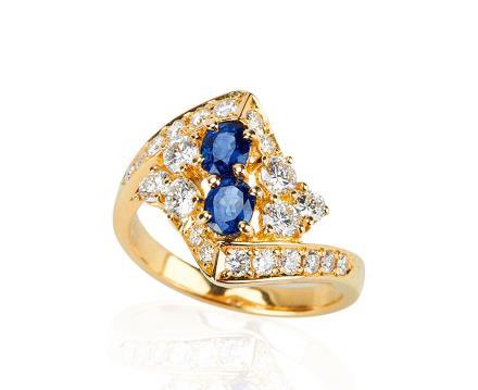 18K金蓝宝镶钻石