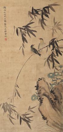 金城(1878-1926)竹石双翠图