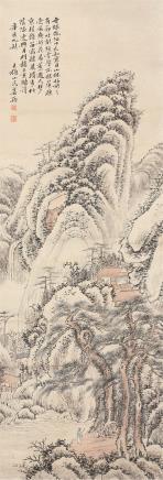 姜筠(1847-1919)策杖访友图