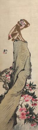 潘岚(清)石猴远眺图