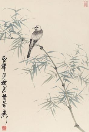 谢稚柳(1910-1997)竹叶翠鸟
