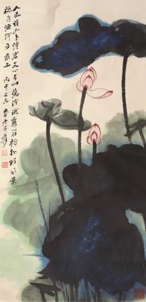 张大千(1899-1983)泼彩荷花