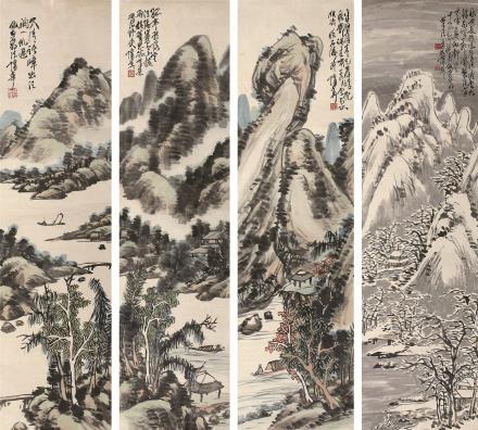 蒲华(1839-1911)山水四屏