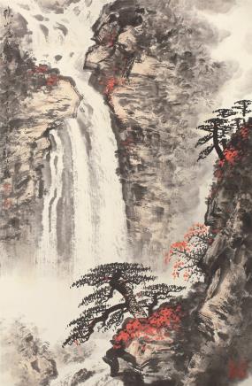魏紫熙(1915-2002)秋山鸣泉图