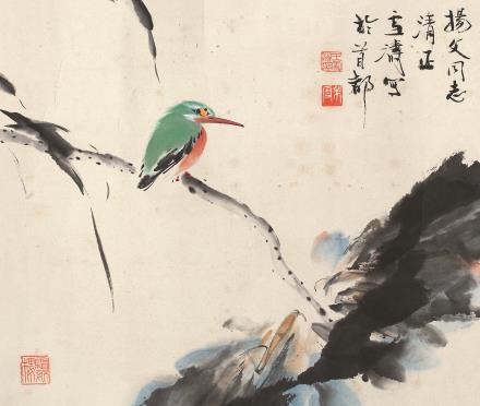 王雪涛(1903-1982)荷花翠鸟