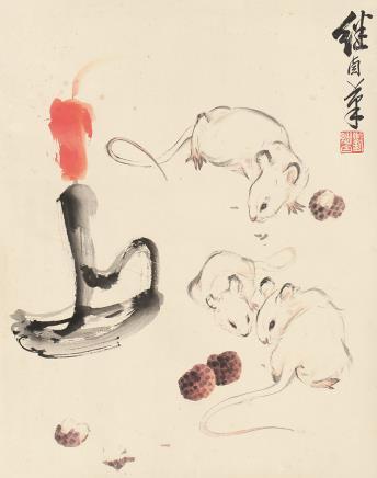 刘继卣(1918-1983)鼠戏图