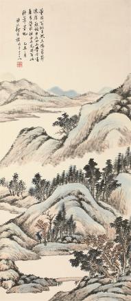 何维檏(1844-1925)松山秋韵图