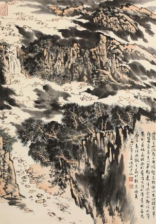 陆俨少(1909-1993)雁荡山险图