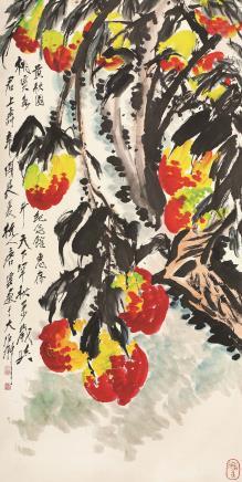 唐云(1910-1993)桃石如斗图