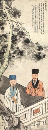 金鉴(1832-1911)小築听秋图