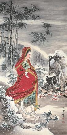 吴光宇(1908-1970)风雪仕女图