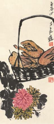 齐良迟(1921-2003)秋菊佛手