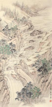 吴一峰(1907-1998)云瀑图