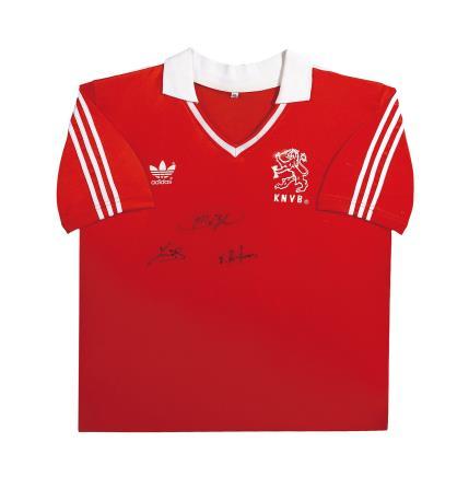 """""""荷兰三剑客""""(范巴斯滕、古利特、里杰卡尔德)亲笔签名 1988欧洲杯荷兰主场球衣(前签)"""