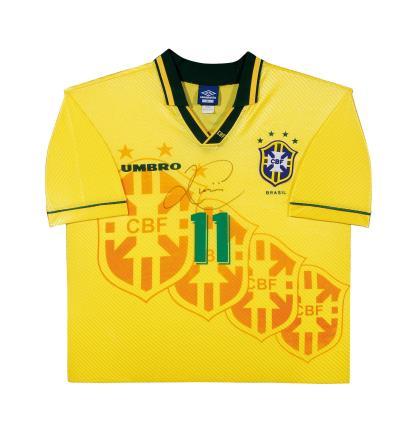"""""""独狼""""罗马里奥亲笔签名 1994世界杯巴西主场球衣(前签)"""