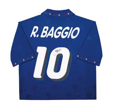 巴乔亲笔签名 1994年世界杯意大利主场球衣(背签)
