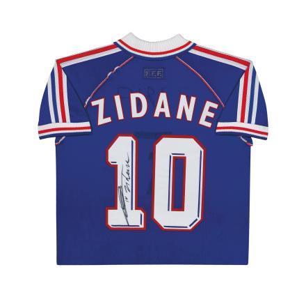齐达内亲笔签名 1998世界杯法国队主场球衣(背签)