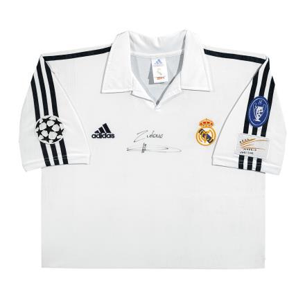 齐达内亲笔签名 01/02赛季皇家马德里百年纪念主场球衣(前签)