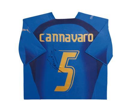 卡纳瓦罗亲笔签名 2006世界杯意大利主场球衣(背签)