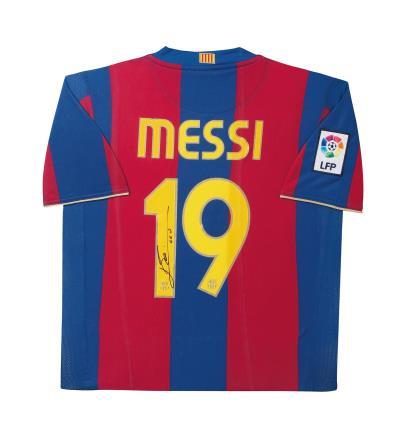 梅西亲笔签名 06/07赛季巴塞罗那主场球衣(背签)