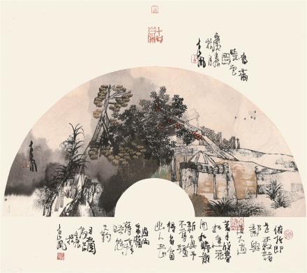 袁绍明 山水(扇面)