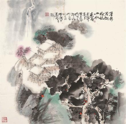 桂润年 翠影笼烟、秋山白帆山水二帧(二选一)