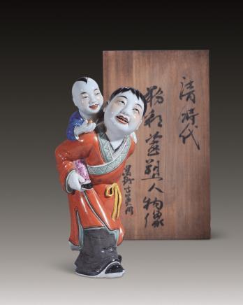 二十世纪粉彩手足情雕塑