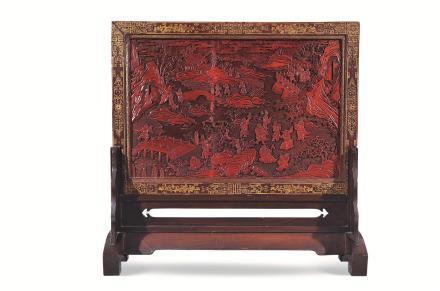 二十世纪刻漆群仙贺寿插屏