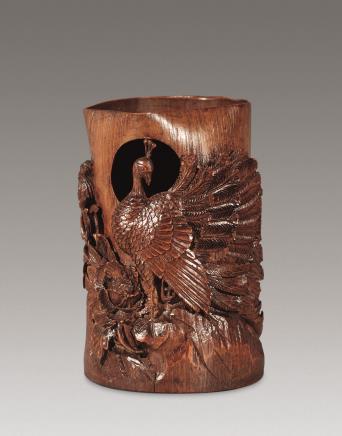 十八世纪竹透雕孔雀花卉花插