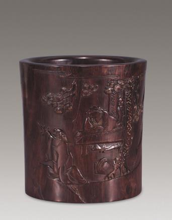 十七世纪紫檀高士书法笔筒